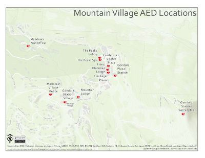 Map of the town of Mountain Village showing all AED locations