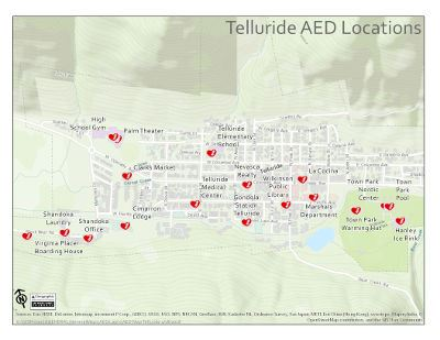 Map of the town of Telluride showing all AED locations