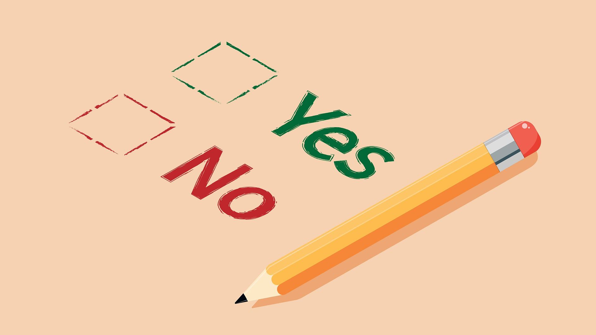 "Survey graphic depicting ""yes"" and ""no"" answers"