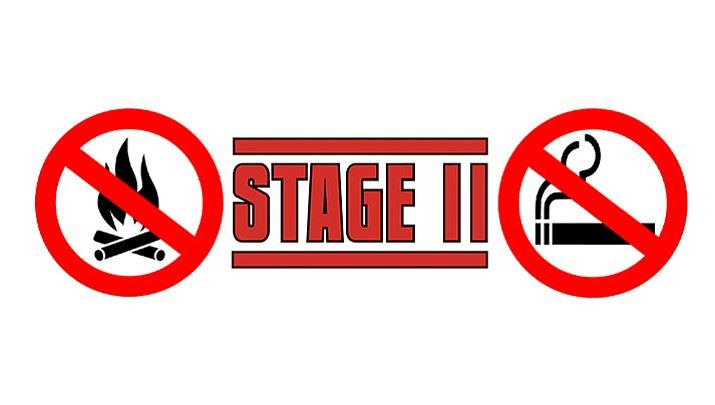 "Stage II fire restrictions with ""no burning"" icons"