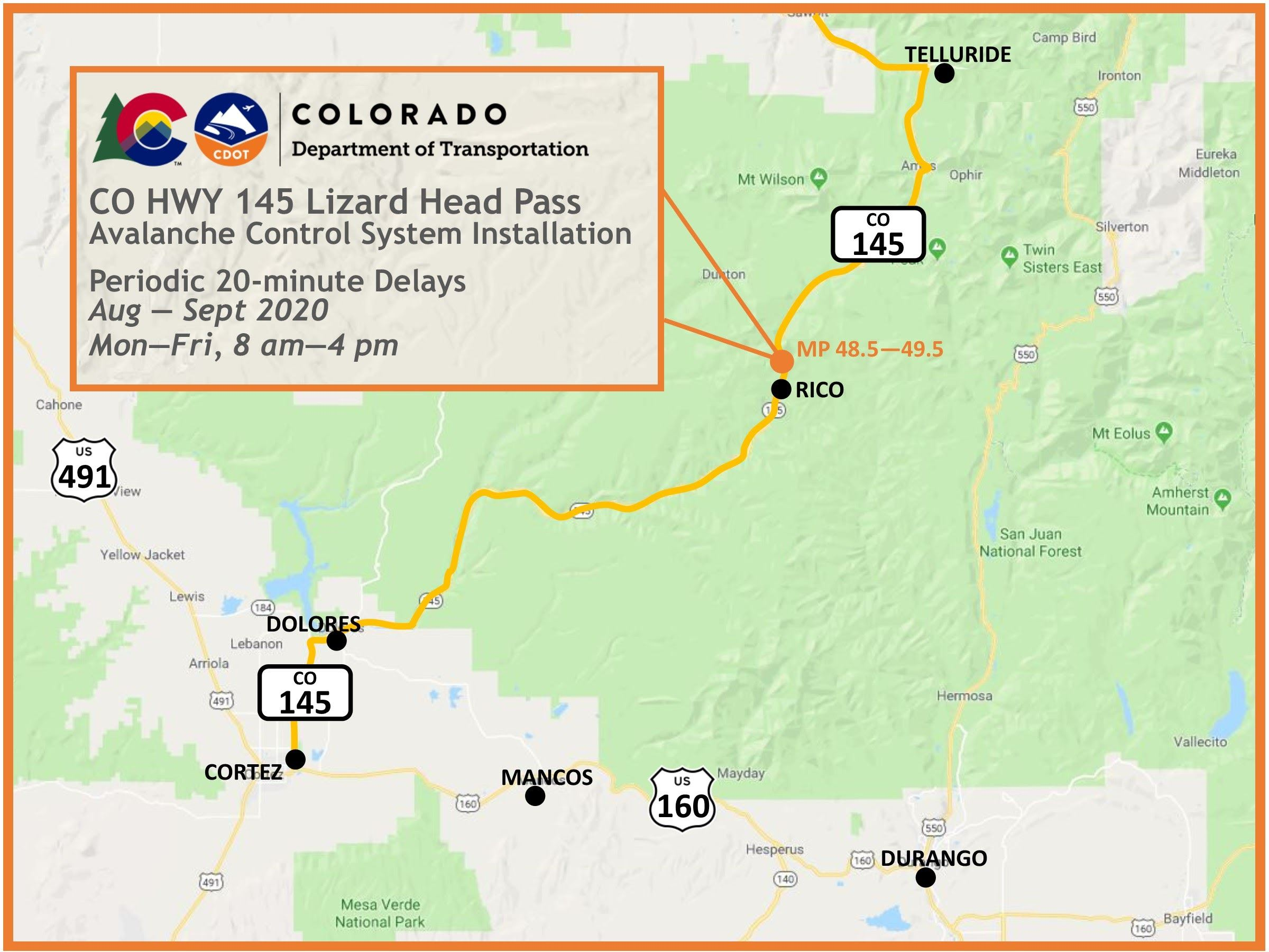 Map of CO 145 Lizard Head Pass Avalanche System Installation