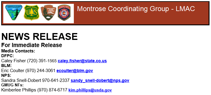 Fire Restrictions News Release Contact Info