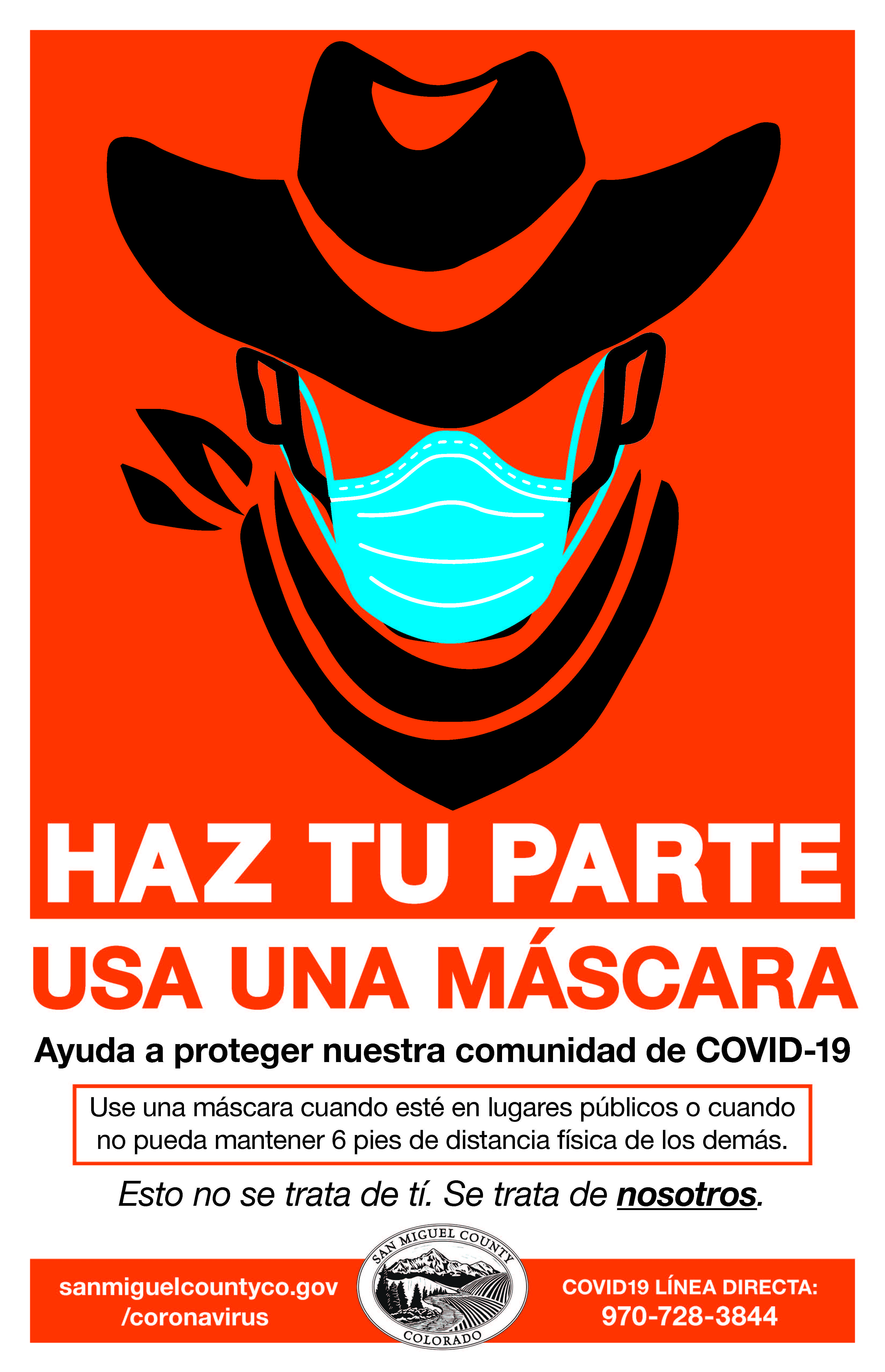 SMC cowboy mask poster in Spanish Opens in new window